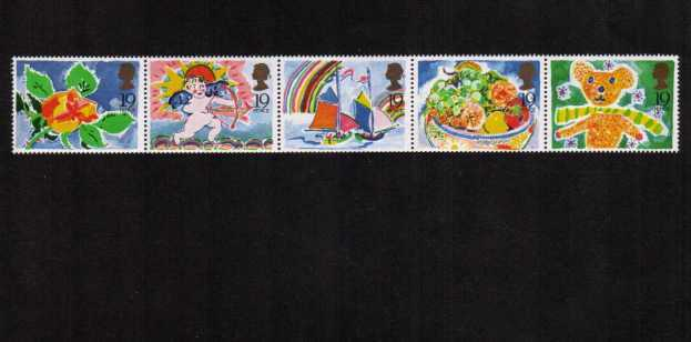 view larger image for SG 1423-1427 (1989) - Greetings Stamps ex booklet strip of five good perforations