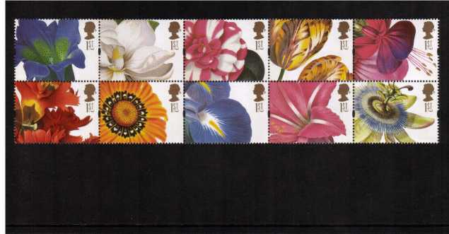 view larger image for SG 1955-1964 (1997) - Greeting Stamps<br/>19th Century Flower Paintings<br/>block of ten from KX9 Booklet