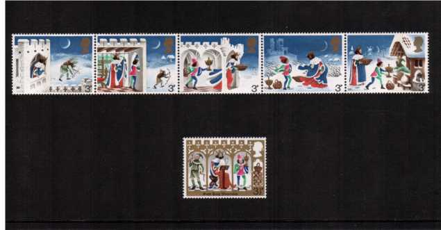 view larger image for SG 943-948 (1973) - Christmas strip of five plus single