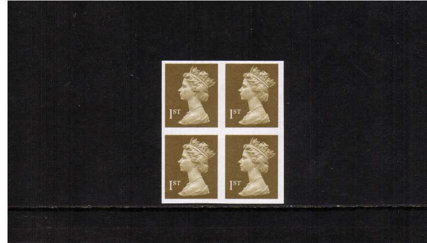 view larger image for SG 1668a (1997) - 1st Class - Gold A superb unmounted mint block of four completely imperforate. SG Cat �300 Scarce block.
