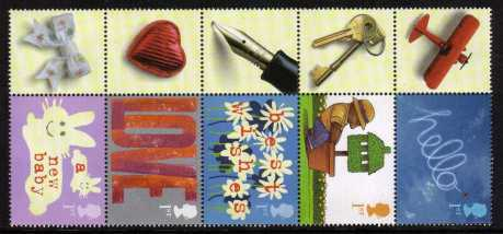 view larger image for SG LS7strip (2002) - Greeting Stamps - Occasions. The vertical strip of five from Smiler Sheet LS7 perforation 14�x14. The normal issue stamps were not se-tenant and were perf 15x14