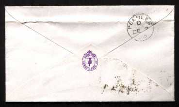 view larger back view of image for 1d Rose-Red from Plate 143 lettered 'K-I' on a small neat envelope cancelled with an EDINBURGH 'dotted circle' stated to be Type A9, Code 14 W to PEEBLES dated DE 2 73