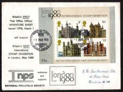 view larger back view image for Historic Buildings minisheet on a NPS FDC cancelled with two strikes of the STAMPEX special handstamp