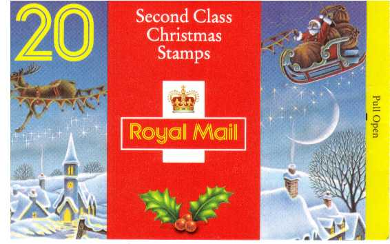 British Stamps Christmas Booklets Item: view larger image for SG LX5 (1993) - �3.80  - Containing twenty 19p (SG1790)