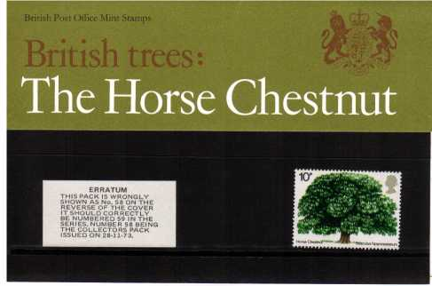 Stamp Image: view larger back view image for 10p British Trees (2nd Issue) - stated to be 58 on reverse but should have been numbered 59<br/><br/>