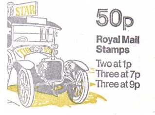 British Stamps QE II Folded Booklets Item: view larger image for SG FB3A (1978) - 50p Booklet - Commercial Vehiclels Series - No 1- Clement Talbot van -  7p's at Left - Pane is SG X844n