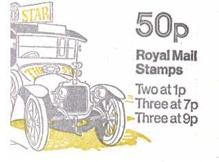 British Stamps QE II Folded Booklets Item: view larger image for SG FB3B (1978) - 50p Booklet - Commercial Vehicles Series - No 1- Clement Talbot van - 7p's at Right - Pane is SG X844na
