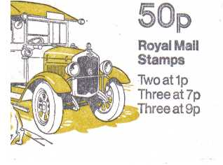 British Stamps QE II Folded Booklets Item: view larger image for SG FB5A (1978) - 50p Booklet - Commercial Vehicles Series - No 3 - Morris Royal Mail van - 7p's at Left - Pane is SG X844n