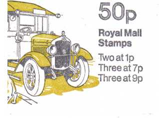 British Stamps QE II Folded Booklets Item: view larger image for SG FB5B (1978) - 50p Booklet - Commercial Vehicles Series - No 3 - Morris Royal Mail van - 7p's at Right - Pane is SG X844na