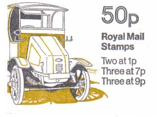 British Stamps QE II Folded Booklets Item: view larger image for SG FB6A (1978) - 50p Booklet - Commercial Vehicles Series - No 4 - Guy Electric dustcart - 7p's at Left - Pane is SG X844n