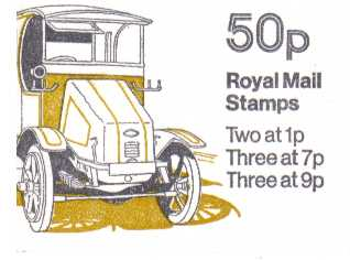 British Stamps QE II Folded Booklets Item: view larger image for SG FB6B (1978) - 50p Booklet - Commercial Vehicles Series - No 4 - Guy Electric dustcart - 7p's at Right - Pane is SG X844na