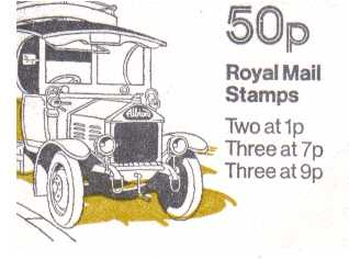 British Stamps QE II Folded Booklets Item: view larger image for SG FB7A (1979) - 50p Booklet - Commercial Vehicles Series - No 5 - Albion van - 7p's at Left - Pane is SG X844n