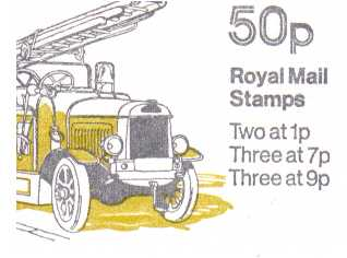 British Stamps QE II Folded Booklets Item: view larger image for SG FB8A (1979) - 50p Booklet - Commercial Vehicles Series - No 6 - Leyland Fire engine - 7p's at Left - Pane is SG X844n