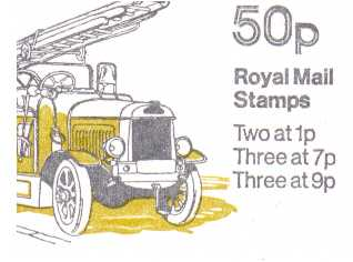 British Stamps QE II Folded Booklets Item: view larger image for SG FB8B (1979) - 50p Booklet - Commercial Vehicles Series - No 6 - Leyland Fire engine - 7p's at Right - Pane is SG X844na