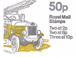 British Stamps QE II Folded Booklets Item: view larger image for SG FB9B (1979) - 50p Booklet - Commercial Vehicles Series - No 6 - Leyland Fire engine - 8p's at Right - Pane is SG X89La