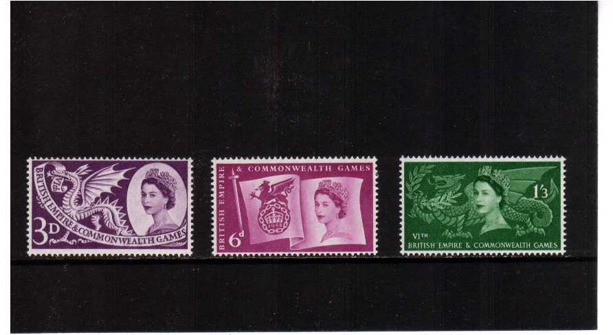 view larger image for SG 567-569 (1958) - Commonwealth Games set of three