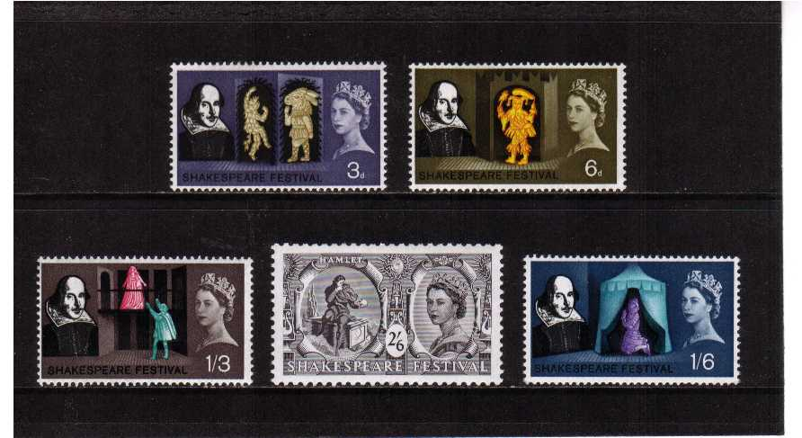view larger image for SG 646-650 (1964) - Shakespeare Festival set of five