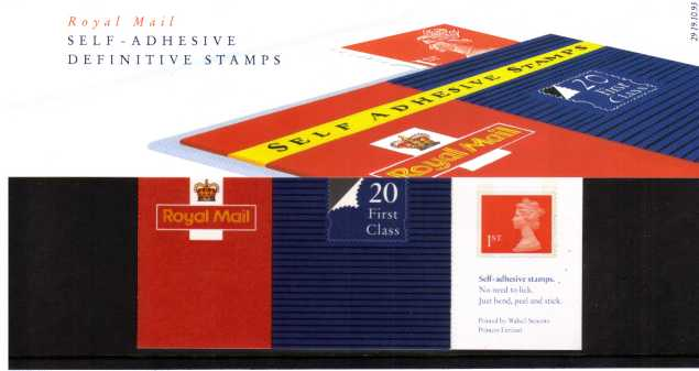 Stamp Image: view larger back view image for 1st Class Self Adhesive booklet of 20<br/><br/>