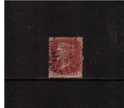 view larger image for SG 43 (1858) - 1d Rose-Red Plate 121 lettered 'Q-F' <br/>cancelled with a  DUBLIN LATE FEE CDS dated MR 15 69. The stamp also has a broken pin at right. A rare cancel on a better 1d Red!