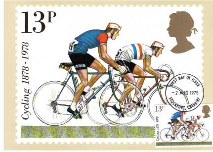 view larger image for PHQ No.31F (1978) - Cycling set of four - STOCKPORT FDI cancel on front - pencil address on back