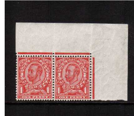 view larger image for SG 341a (1912) - 1d Bright Scarlet superb unmounted mint horizontal pair from the NE corner of the sheet, the left stamp shows 'no cross on crown' variety. SG Cat �160