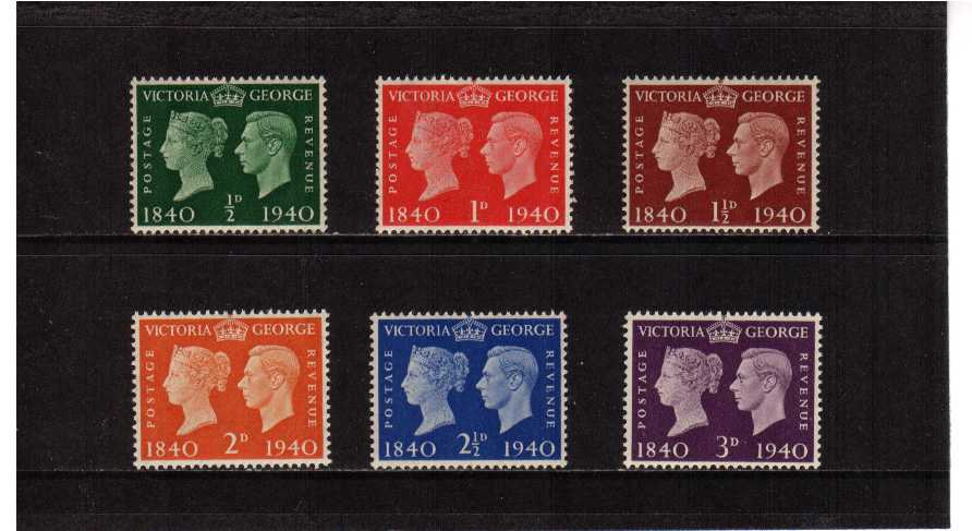view larger image for SG 479-484 (1940) - Centenary of First Postage Stamp set of six