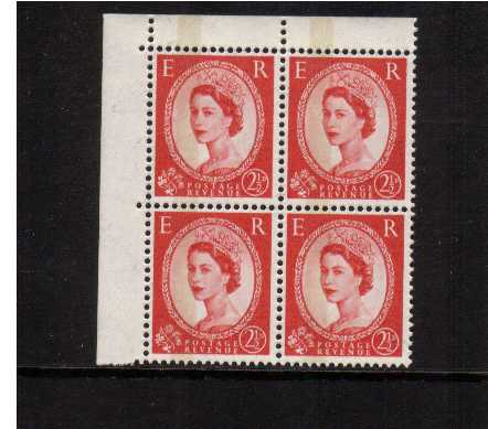 view larger image for SG 614b (1961) - 2�d Carmine-Red Type I - 1 Band in a superb unmounted mint NW corner block of four. Scarce stamp! SG Cat �180