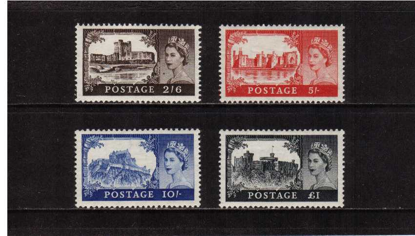 view larger image for SG 536-539 (1955) - Elizabeth II <br/>'Castles' by Waterlow <br/>Edward Crown watermark <br/>Definitive set of four