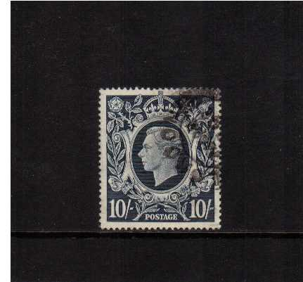 view larger image for SG 478var (1939) - 10/- Dark Blue superb fine used showing the illustrated variety 'dot on Scroll' from R2/5. The cancel is well clear of the variety! <br/><b>SG SPEC Q32d</b>