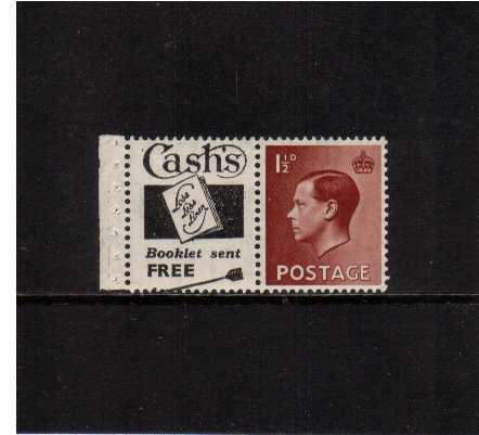 view larger image for SG 459v (1936) - 1�d booklet single with attached advert label for CASH'S and margin superb unmounted mint. Complete panes catalogue in the region of �75-95. (ns0407)