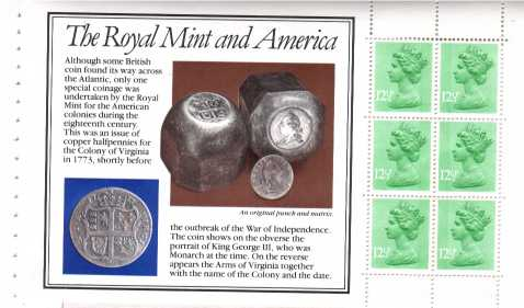 view larger image for SG X899m (14 Sept 1983) - from: DX4 - 'Story of The Royal Mint' - 12�px6 'Royal Mint and America' pane