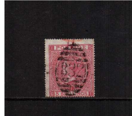 view larger image for SG 126 (1867) - 5/- Rose (Deep) from Plate 1 lettered 'G-I' cancelled with a full upright 'B32' for BUENOS AYRES (used abroad) this stamp is in excellent condition with a bright colour and good perforations but is off center as is usual for this issue. SG SPEC Z28