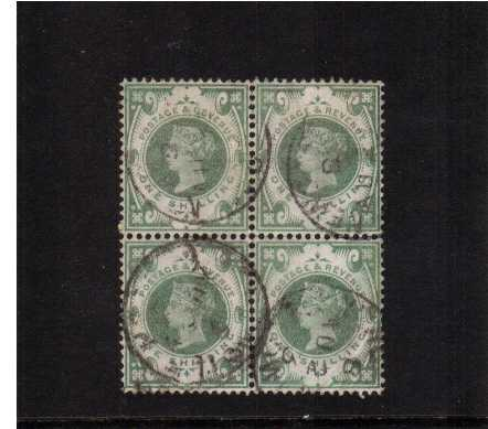 view larger image for SG 211 (1887) - 1/- Dull Green in a fine used block of four cancelled with three, light indistinct CDS's. One stamp has a corner crease not visible from front. Please note the stamps have true colour! Pretty block. SG Spec Cat £300 for block