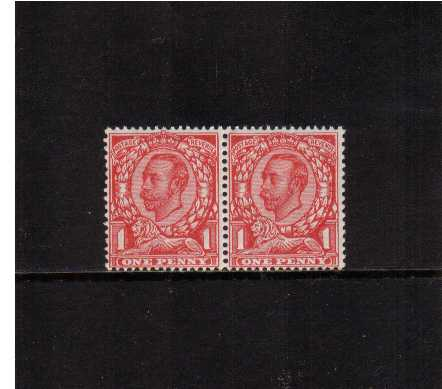 view larger image for SG 345a (1912) - 1d Scarlet watermark Royal Cypher. A superb unmounted mint pair centered slightly low to very clearly show on the left stamp the 'no cross on crown' variety. SG Cat �175