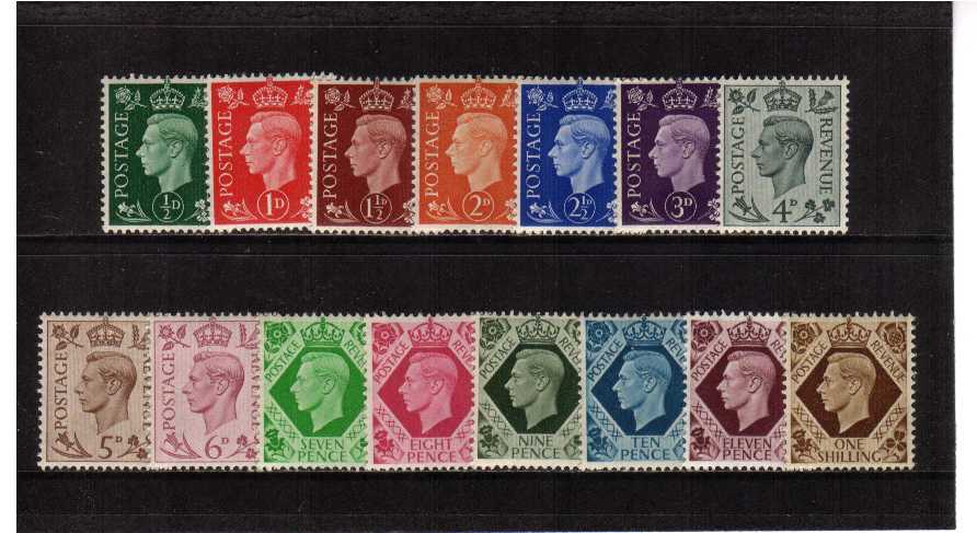 view larger image for SG 462-475 (1937) - George 6th <br/>'Dark Colours' <br/>Definitive set of fifteen