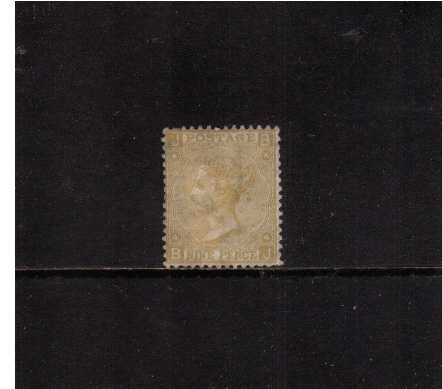 view larger image for SG 111 (1867) - 9d Pale Straw watermark Spray lettered 'B-J'. A good looing unused stamp with no gum and a short perforation SE corner. The stamp also has a large hinge thin. Good looking from front, a scarce stamp! SG Cat �1750