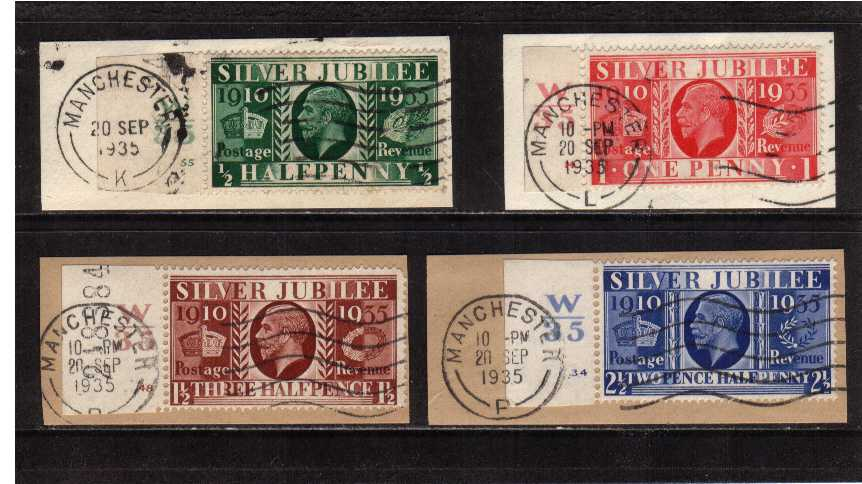 view larger image for SG 453-456 (1935) - Silver Jubilee set of four each tied with a MANCHESTER wavy line cancel dated 20 SEPT 1935 to a small piece. Each stamp is left side marginal showing control W35 and cylinder number. (55, 14, 48 and 34) An unusual group.