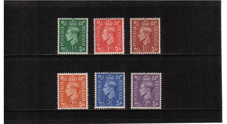 view larger image for SG 485-490 (1941) - George 6th <br/>  'Light Colours' Definitive set of six
