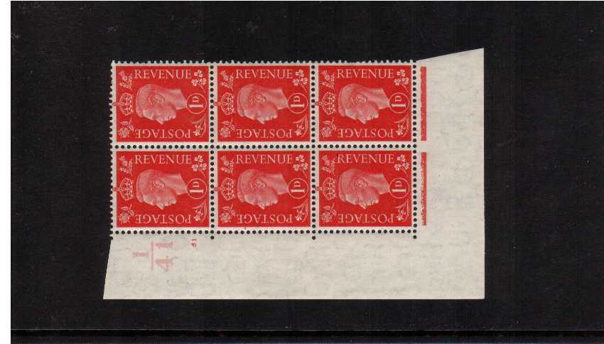 view larger image for SG 463 (1937) - 1d Scarlet in a cylinder block of six lightly mounted on margin only showing Cylinder 51 NO DOT and control I41