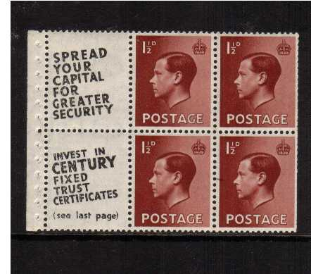 view larger image for SG 459 (1936) - 1�d Booklet pane of six with INVERTED watermark  unmounted mint showing advert label 'SPREAD YOUR CAPITAL FOR GREATER SECURITY' etc. Slightly trimmed at ringt. SG SPEC PB5a(11)