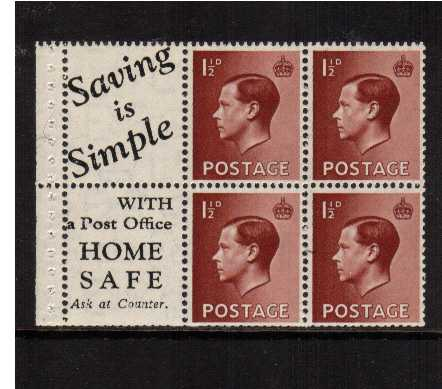 view larger image for SG 459 (1936) - 1�d Booklet pane of six with upright watermark superb lightly mounted mint showing advert label 'SAVING IS SIMPLE' etc. Reasonable perforations. SG SPEC PB5(14)