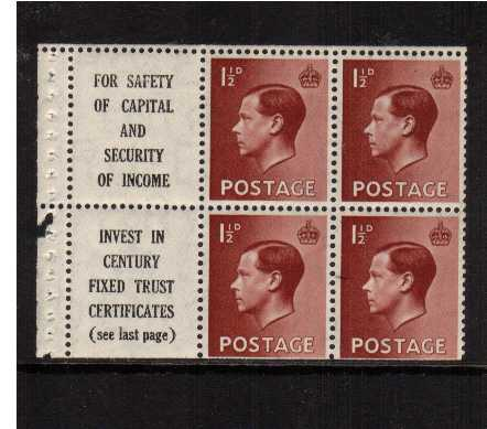 view larger image for SG 459 (1936) - 1�d Booklet pane of six with upright watermark unmounted mint showing advert label 'FOR SAFETY OF CAPITAL AND SECURITY OF INCOME' etc. Trimmed at foot. SG SPEC PB5(9) SG Cat �85