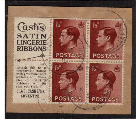 view larger image for SG 459 (1936) - 1�d Booklet pane of six with INVERTED  watermark superb fine used showing advert label 'CASH'S SATIN' etc. Average perforations but rare used. SG SPEC PB5a(3)