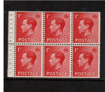 view larger image for SG 458 (1936) - 1d Scarletpane of six with INVERTED watermark superb unmounted mint with some trimmed perforations SG SPEC PB2a SG CAT �40