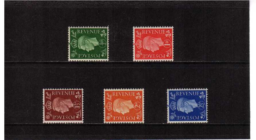 view larger image for SG 462a-466a (1937) - George 6th <br/>'Dark Colours' Definitive set of five <br/> SIDEWAYS watermark