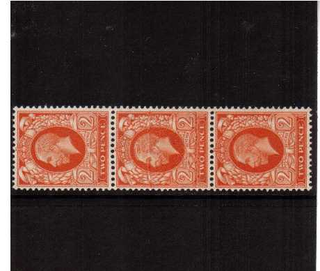 view larger image for SG 442var (1935) - 2d Orange superb unmounted mint vertical strip of three showing a paper flex resulting in under and over inking on the middle stamp. Most unusual.