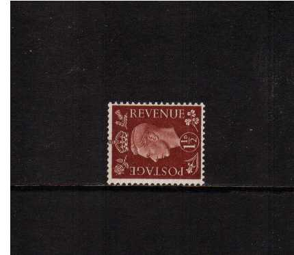 view larger image for SG 464a (1937) - 1� Red-Brown with WATERMARK SIDEWAYS