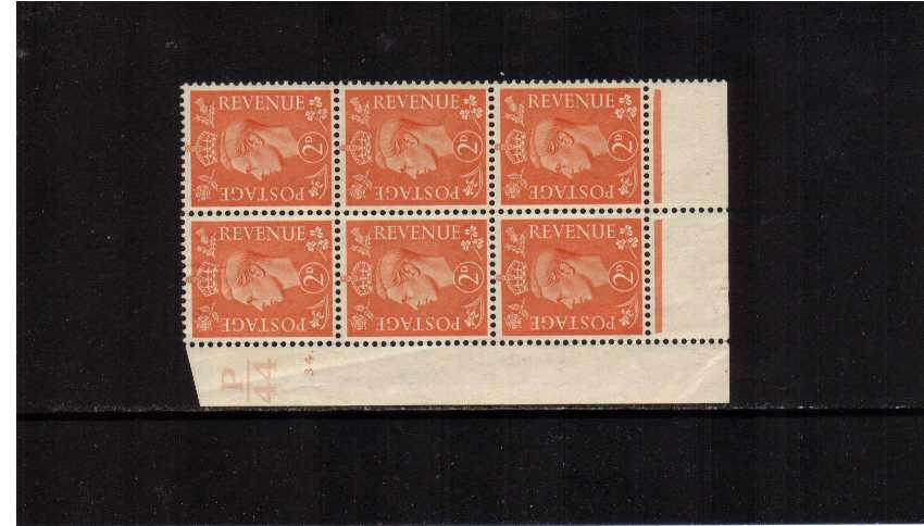 view larger image for SG 488 (1941) - 2d Pale Orange in a superb unmounted mint cylinder block of six showing cylinder 34 DOT and control P44 - Perforation Type 6 (dotI/P) Feint crease in margin that goes through one stamp.<br/><b>QZA</b>