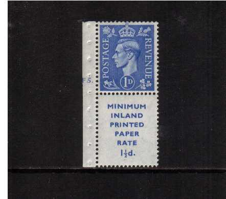 view larger image for SG 504 (1951) - 1d Light Ultramarine upright watermark booklet marginal single with printed advert label 17mm high superb unmounted mint showing cylinder F5DOT on margin.