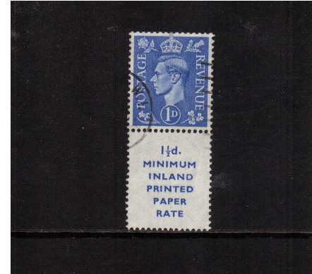 view larger image for SG 504 (1951) - 1d Light Ultramarine upright watermark booklet marginal single with printed advert label 17mm high superb fine used.